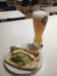 Lufthansa Business Lounge - dinner for men ... beer and hot-dogs.
